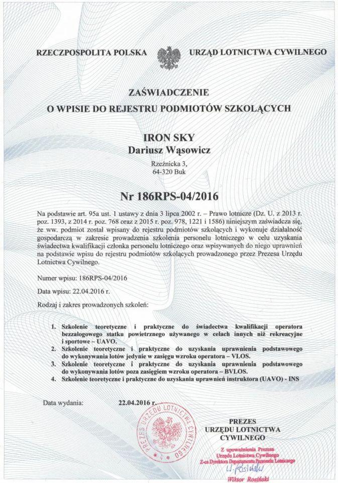 certyfikat z ULC ironsky.pl ośrodek szkolenia pilotó dronów Poznań