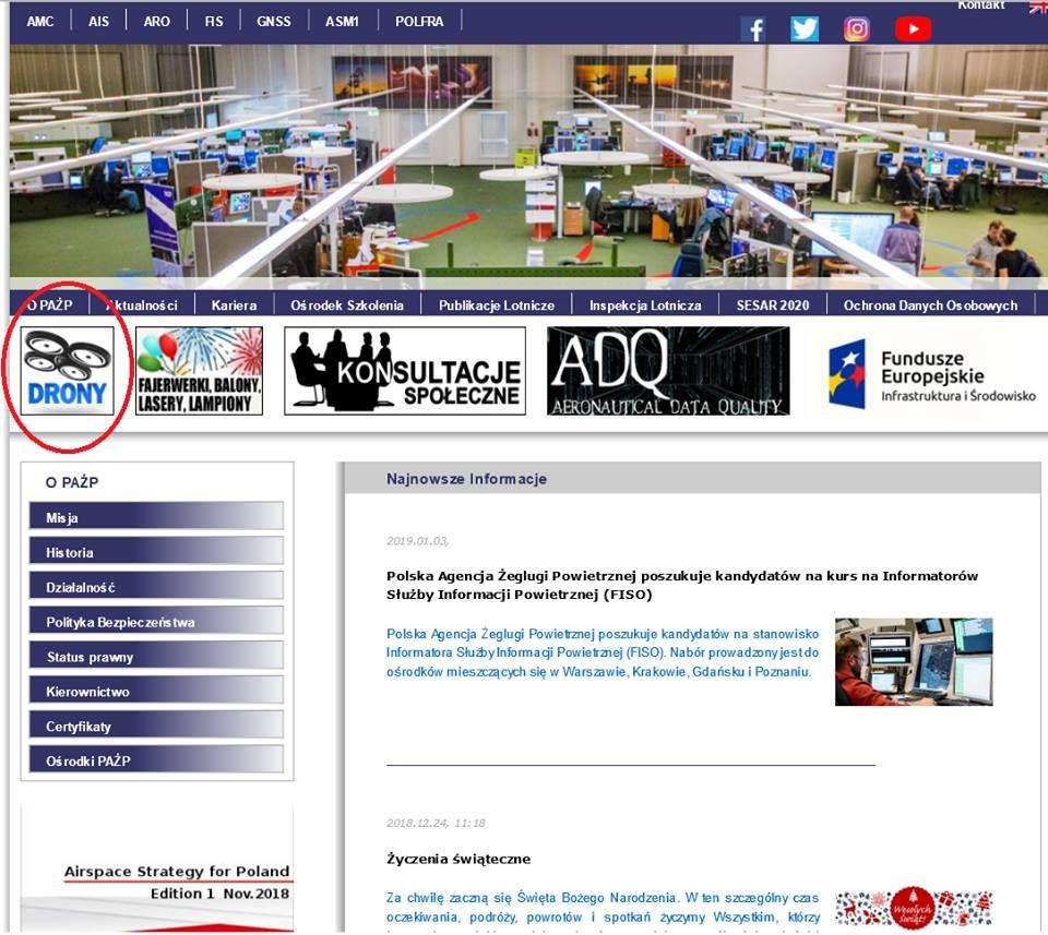 nowa zakładka o dronach na stronie PAŻP polskiej agencji żeglugi powietrznej
