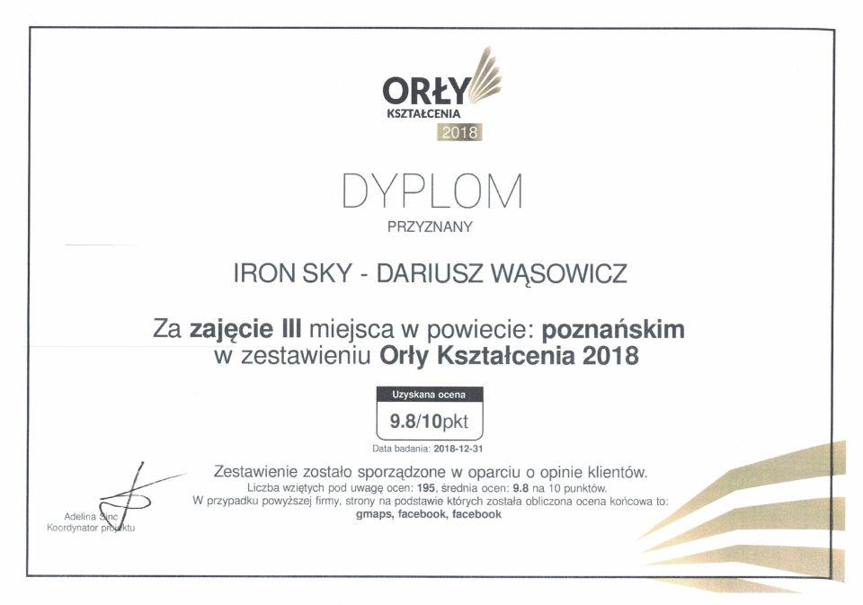 Dyplom Orły Kształcenia Orły biznesu Najlepsze szkolenia na operatora drona szkolenia z fotografi z drona
