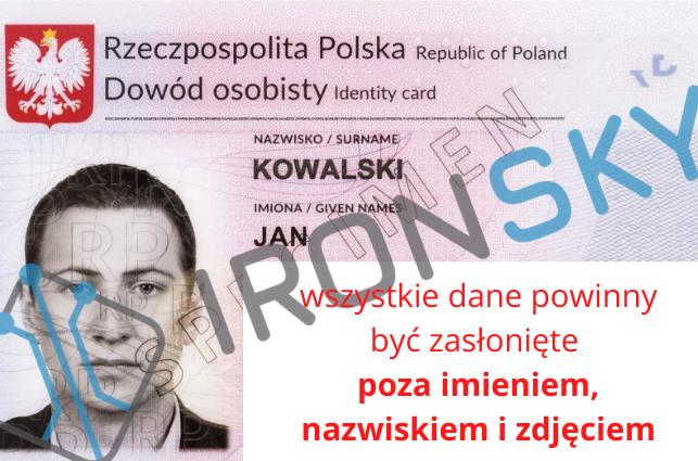 przyklad dowód osobisty na egzamin nadrona A2 w IRONSKY wszystkie dane powinny być zasłonięte poza imieniem, nazwiskiem i zdjęciem