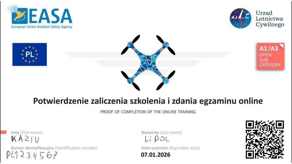 A1 A2 A3 jak wygląda potwierdzenie zaliczenia i zdania egzaminów olnine ULC EASA ironskypl